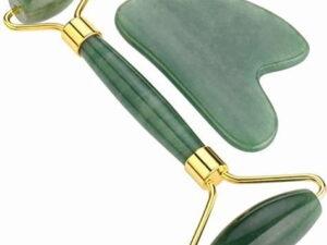 Jade Quartz & Gua Sha with Gold Handles
