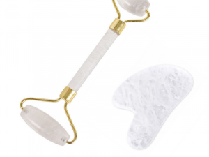 Clear Crystal Quartz Stone Roller & Gua Sha with Gold Handles