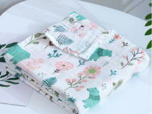 Soft Muslin Cloth Baby Blanket (Flowers & Bears)