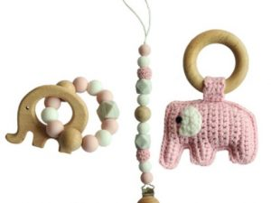 Elephant Pacifier Clip, Rattle & Teether Set
