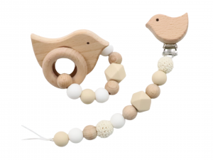 Wooden Silicone Pacifier Clip & Teether